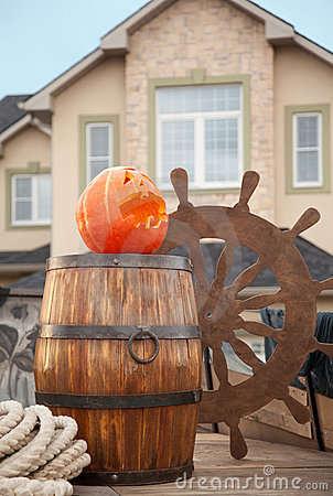 Pumpkin of Halloween against ship scenery