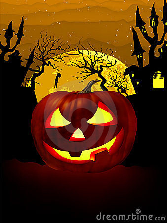 Free Pumpkin Halloween Card With Hanged Man. EPS 8 Royalty Free Stock Images - 20265929