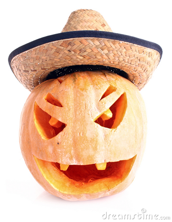 Pumpkin in hat isolated