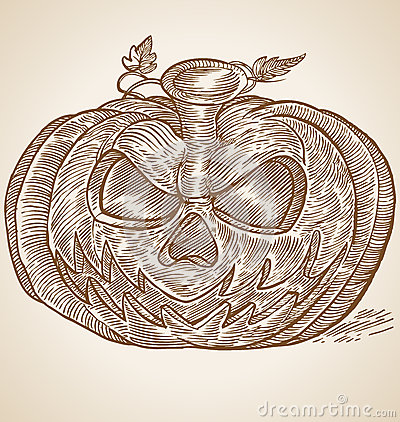 Pumpkin head hand draw