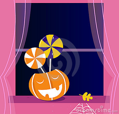 Pumpkin head or Jacks o  lantern, Candy, Window