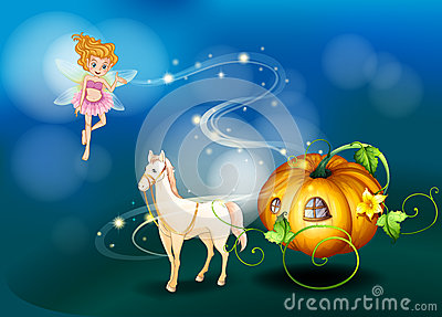 A pumpkin, a horse and a fairy