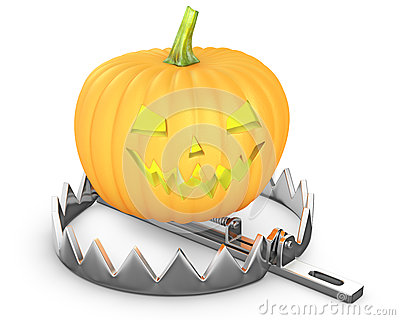 Pumpkin jack lantern in a bear trap