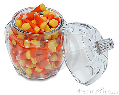 Pumpkin Jar with Candy Corn