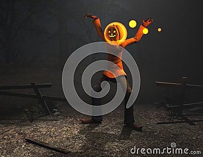 Pumpkin man halloween character