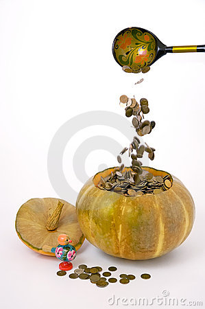 Pumpkin with money