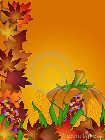 Pumpkin Ornamental Corn and Fall Leaves