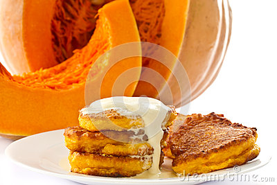 Pumpkin pancakes with sour cream