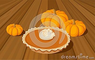 Pumpkin pie and orange pumpkins.