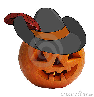 Pumpkin in a robbers hat