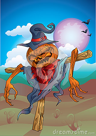Free Pumpkin-scarecrow With Background Halloween Stock Photography - 45416752