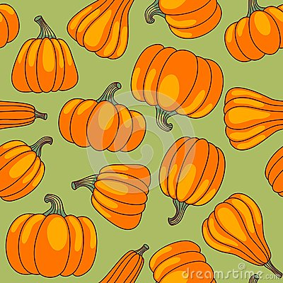Pumpkin seamless pattern.