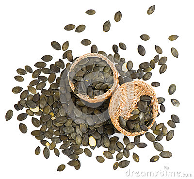 Free Pumpkin Seeds In A Basket, Top View Stock Photos - 50699523