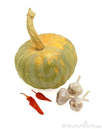 Pumpkin, sheaf of garlic and hot red pepper.