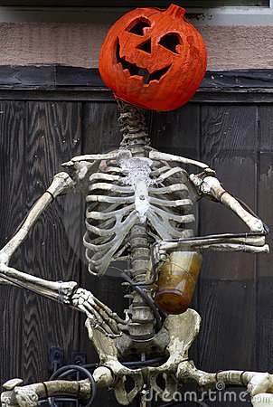 Pumpkin And Skeleton Royalty Free Stock Photo - Image: 352915