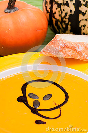Pumpkin soup with kernels
