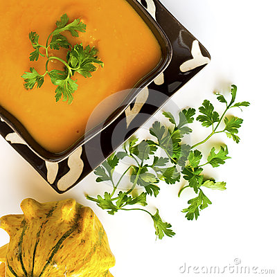 Free Pumpkin Soup Or Squash Soup With Parsley And Paprika Stock Image - 58062411