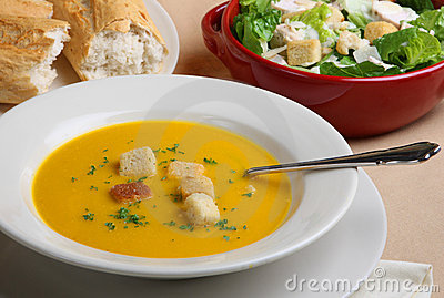 Pumpkin Soup, Salad & Bread