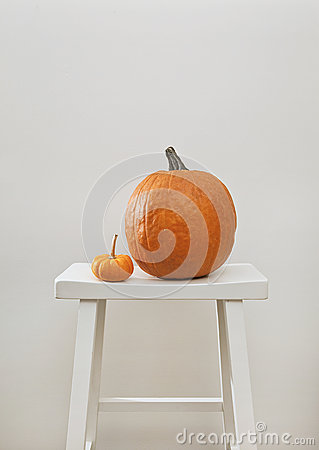 Pumpkin on a stool