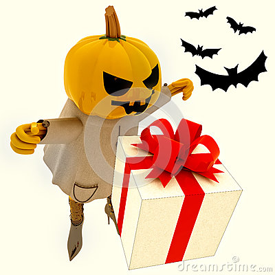 Pumpkin witch has gift suprise with bats