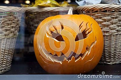Pumpkin and woven basket