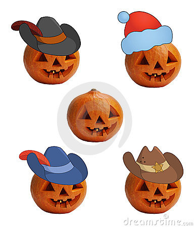 Pumpkins in caps