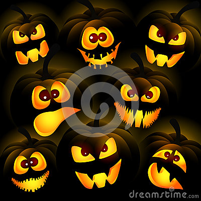 Pumpkins on a dark background