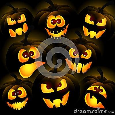 Pumpkins on a dark background