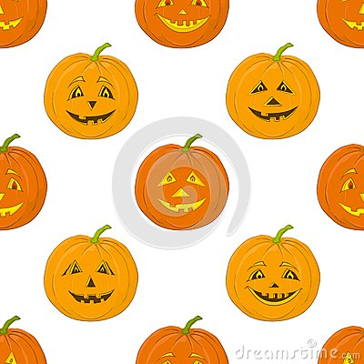 Pumpkins Jack O Lantern, seamless background