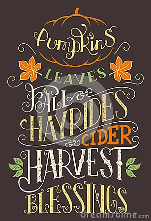 Free Pumpkins Leaves Fall Hay Rides Typography Sign Royalty Free Stock Images - 101184429