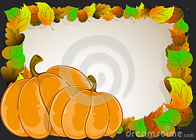 Pumpkins with  leaves