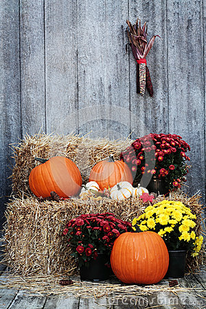 Free Pumpkins On Straw Bales Royalty Free Stock Image - 26914996