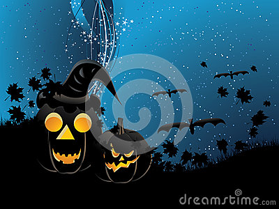 Pumpkins on wavy background