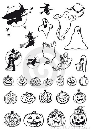 Pumpkins, witches and ghosts - halloween icons