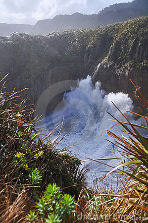 Punakaiki, Pancake Rocks Blow Hole, New Zealand
