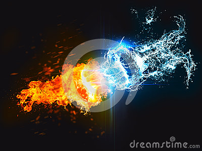 punch of fire against water stock illustration