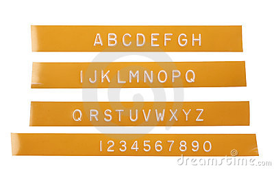 Punch letter alphabet on orange labeling tape