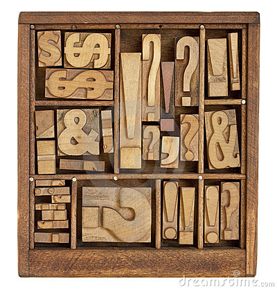 Punctuation symbols in letterpress type