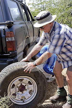 Puncture in the desert Editorial Photography