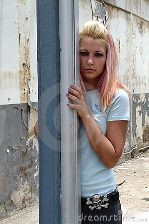 Free Punk Girl At Torn Down House Royalty Free Stock Photography - 1098477