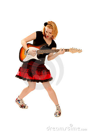 Punk Girl Playing Guitar