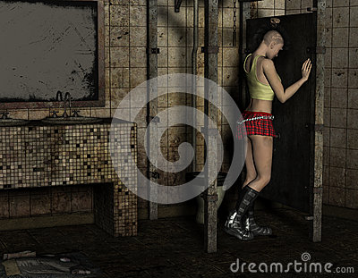 Punk girl stands in a toilet