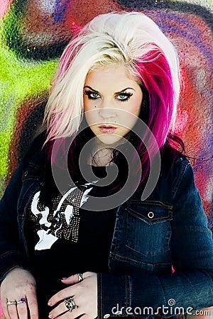 Punk gothic fashion model