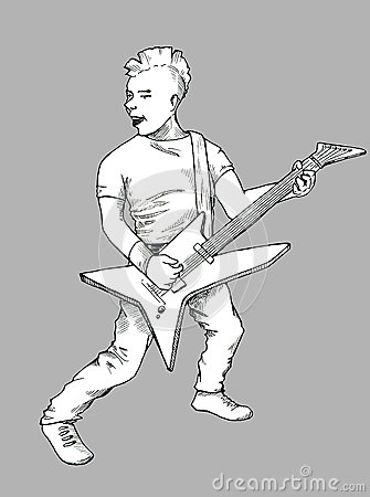 Punk guitarist sketch