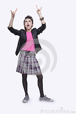 Punk Rock Girl Gesturing