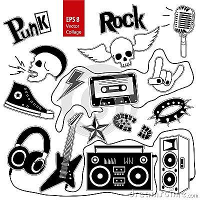 Free Punk Rock Music Vector Set On White Background. Design Elements, Emblems, Badges, Logo And Icons, Collage. Stock Image - 67602251