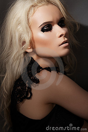 Punk rock style. Model with fashion gloss make-up