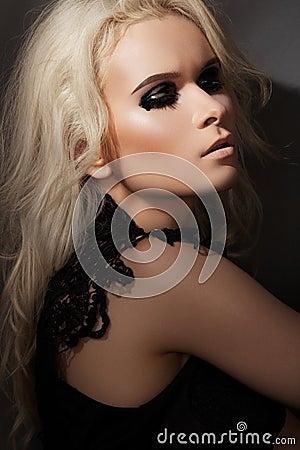 Punk rock style. Model with fashion gloss make-up