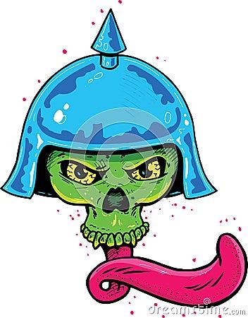 Punk tattoo style skull with helmet