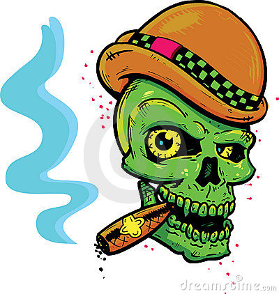 Free Punk Tattoo Style Skull Smoking A Cigar Stock Photography - 9840772